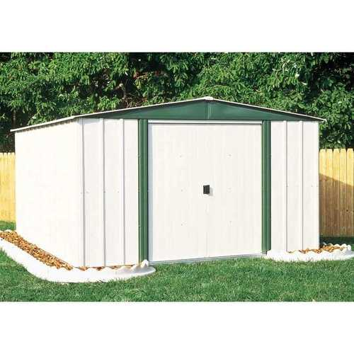 Outdoor 6-ft x 8-ft Steel Storage Shed with Sliding Doors in White Eggshell and Green Color