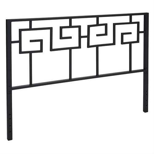 King size Modern Meander Greek Spiral Headboard in Black Metal Finish