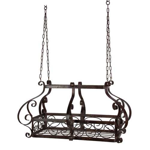 Brown Scrolling Metal Traditional Ceiling Hanging Pot Rack with 12 Hooks
