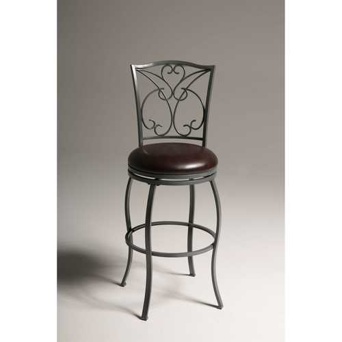 Grey Metal 30-inch Barstool with Brown Faux Leather Swivel Seat