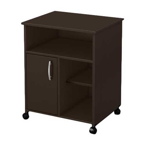 Contemporary Printer Stand Cart with Storage Shelves in Chocolate