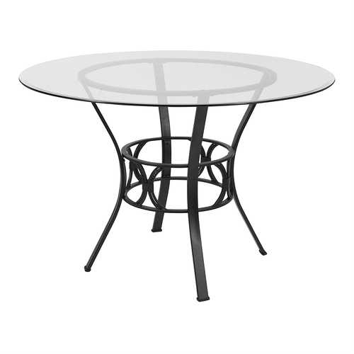 Contemporary 45-inch Round Glass Dining Table with Black Metal Frame