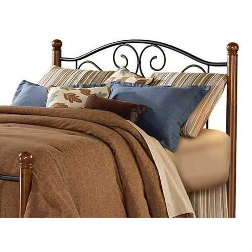 Dora Queen size Metal Headboard in Matte Black and Walnut Finish