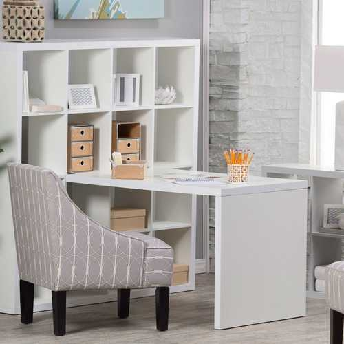 Modern Computer Desk with Honeycomb Style Wall Bookcase in White