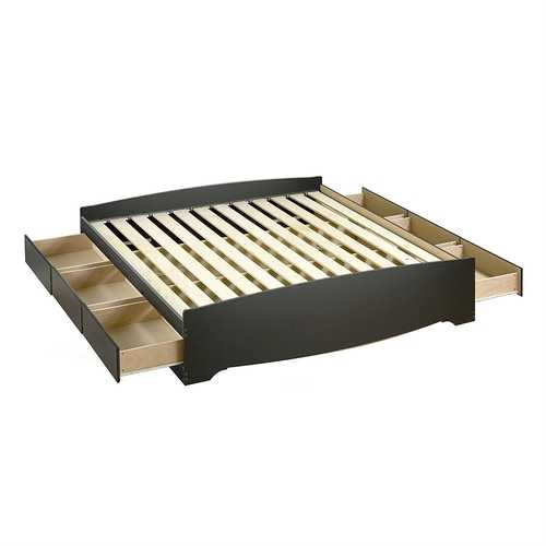 King size Black Wood Platform Bed Frame with Storage Drawers