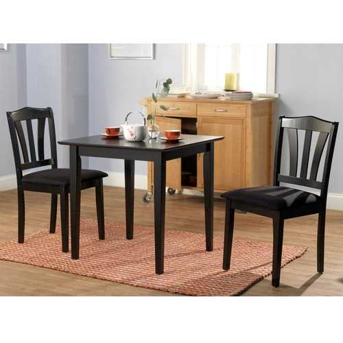 3-Piece Wood Dining Set with Square Table and 2 Chairs in Black