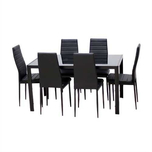 Modern 7-Piece Dining Set with Glass Top Table and 6 Chairs in Black