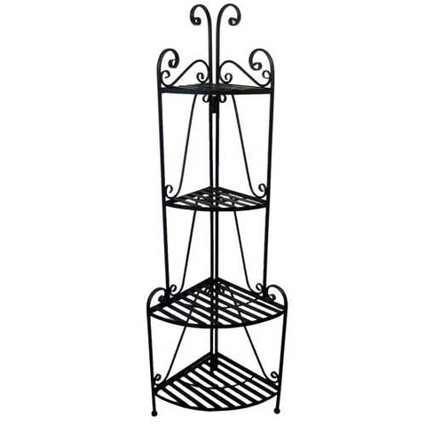 Black Metal 4-Shelf Corner Baker's Rack for Indoor or Outdoor Use