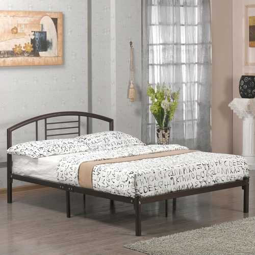 Queen size Contemporary Metal Platform Bed Frame with Headboard in Bronze Finish