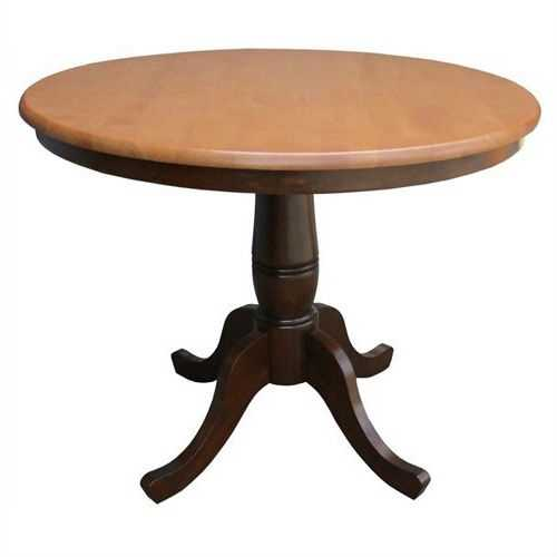Round 36-inch Pedestal Dining Table in Cinnamon Espresso