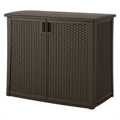 Outdoor Resin Wicker Storage Cabinet Shed in Dark Mocha Brown