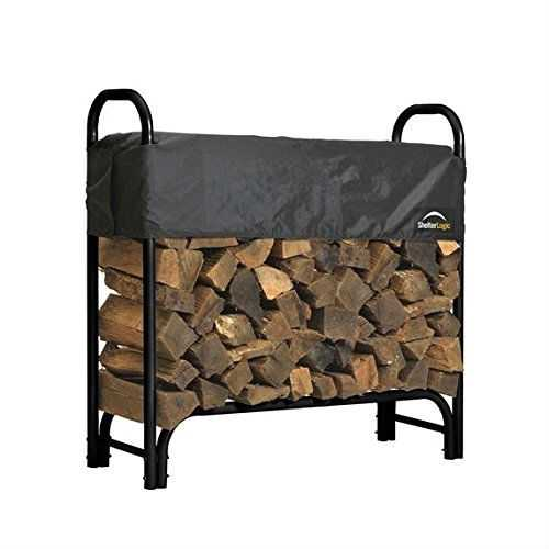 Outdoor Firewood Rack 4-Ft Steel Frame Wood Log Storage with Cover