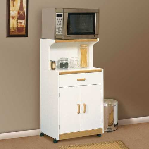 White Microwave Cart with Natural Wood Finish Accents and Sturdy Dual Wheel Casters
