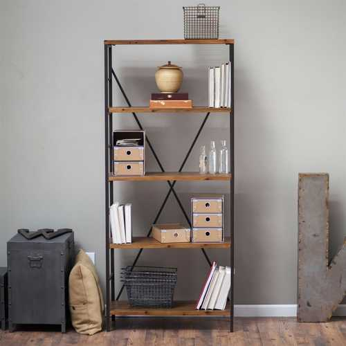 5-Shelf Bookcase with Fir Wood Shelves 68-inch Tall in Rustic Bronze