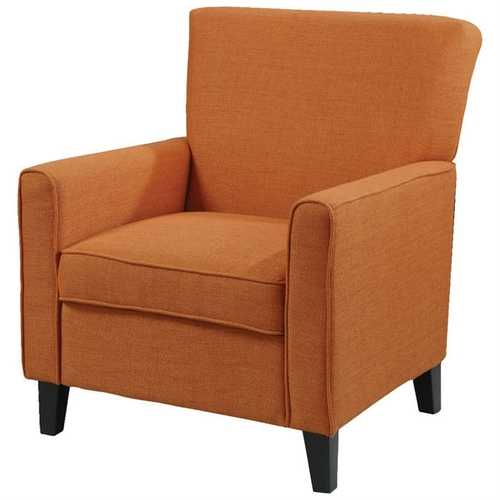 Orange Fabric Contemporary Living Room Arm Chair with Wood Legs
