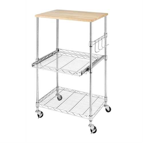 Sturdy Metal Kitchen Microwave Cart with Adjustable Shelves and Locking Wheels