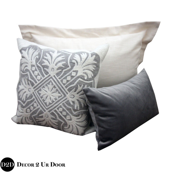 Ivory & Grey Ornate Pillow Pile