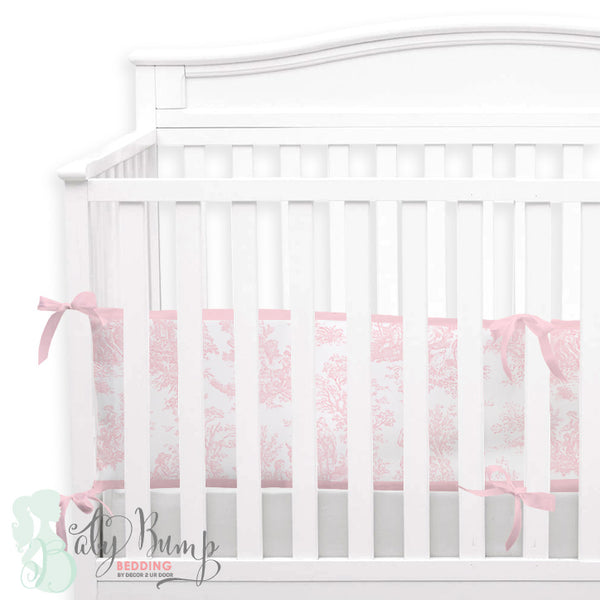 Shabby Chic Pink Toile 2-in-1 Crib Bumper/Rail Cover