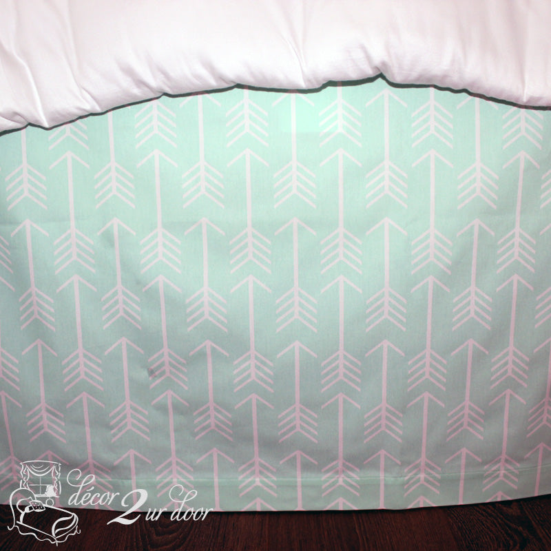 Mint Arrows Designer Dorm Bed Skirt