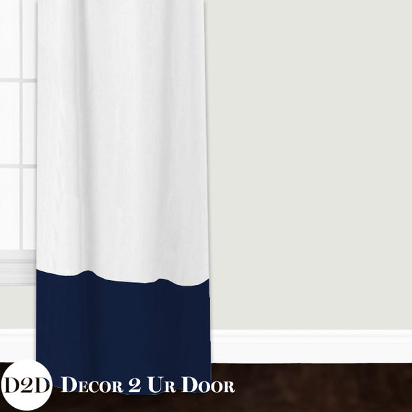 White Linen & Navy Closet + Window Curtain