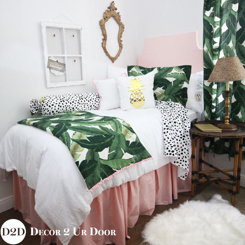 Palm Leaf Print & Blush Pink Designer Bedding Collection