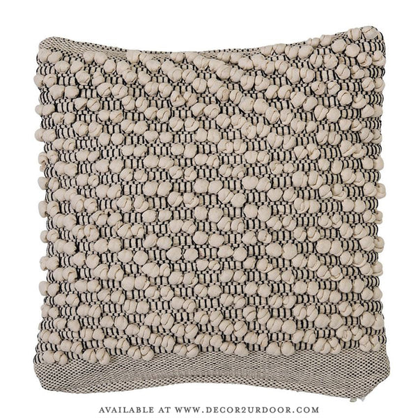 Beige Textured Cotton Square Pillow
