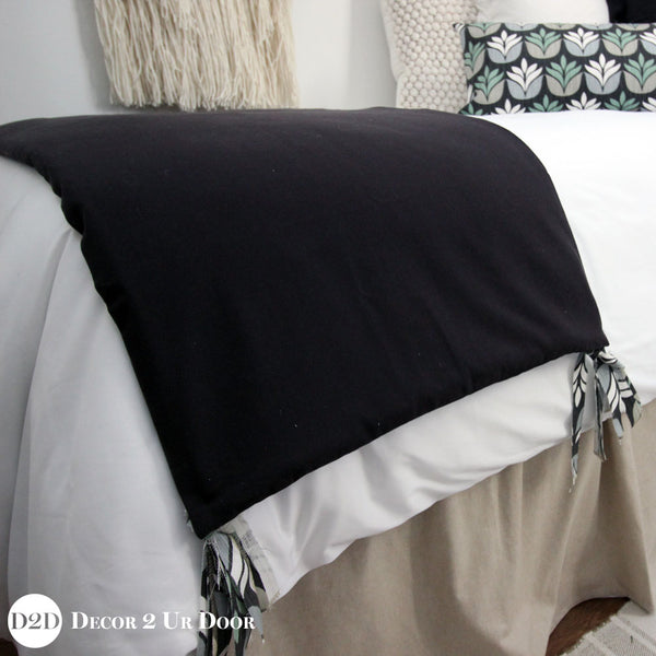 Solid Black & Succulent Ties Bed Scarf
