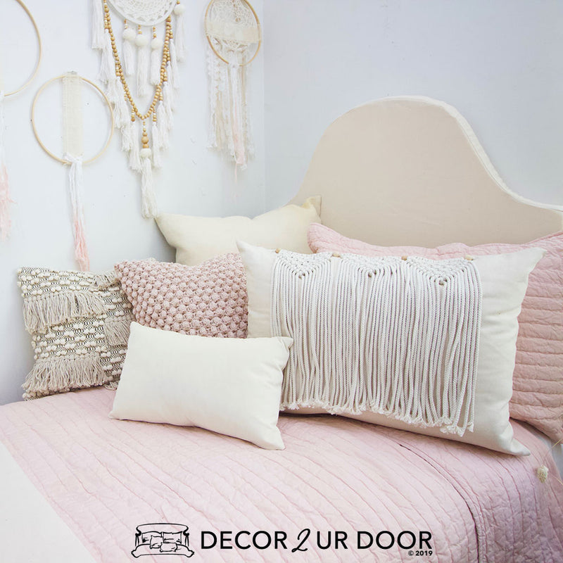 Blush Macrame Dorm Bedding Set