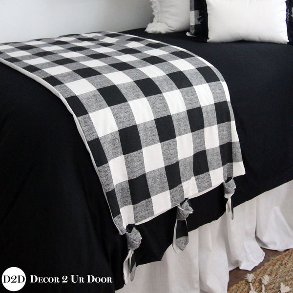 Farmhouse Black and White Gingham Plaid Bed Scarf