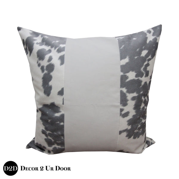 Grey Cowhide Print Euro Pillow Cover
