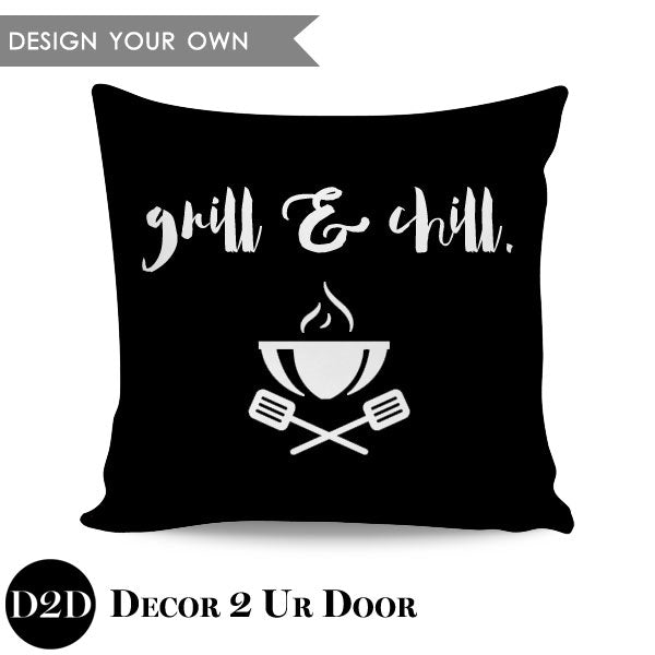 Grill & Chill BBQ Square Throw Pillow Cover