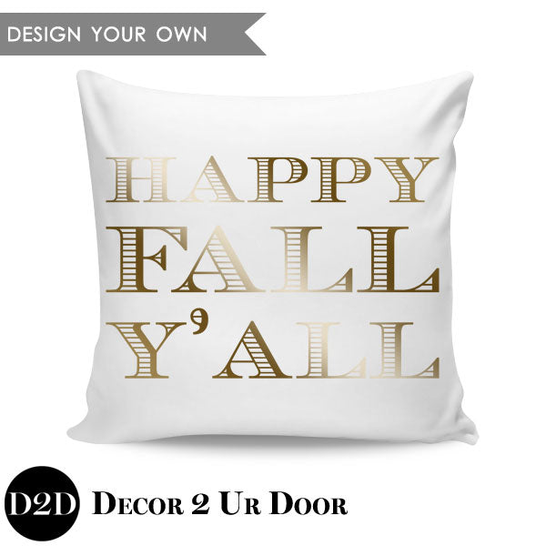 Happy Fall Y'All Square Throw Pillow Cover