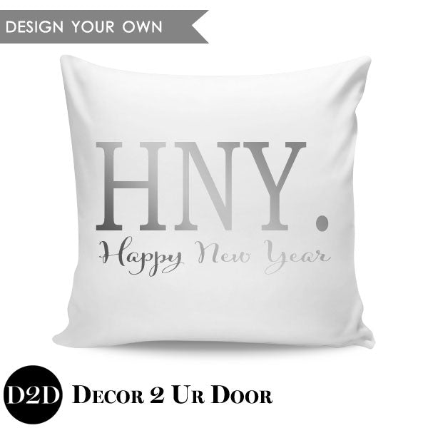 Happy New Year Square Throw Pillow Cover