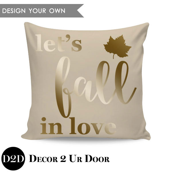 Let's Fall in Love Square Throw Pillow Cover