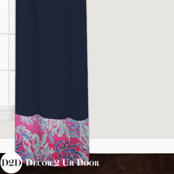 Lilly Coral Print Closet + Window Curtain