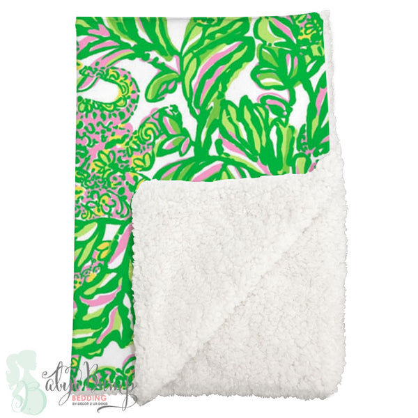 Lilly Pink & Green Monkeys Sherpa Baby Blanket