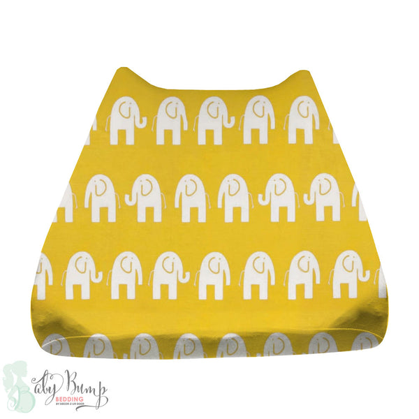 Yellow Elephant Baby Changing Pad Cover