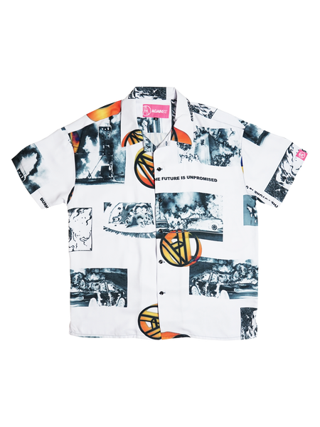WHITE BURN BABY BURN SHIRT