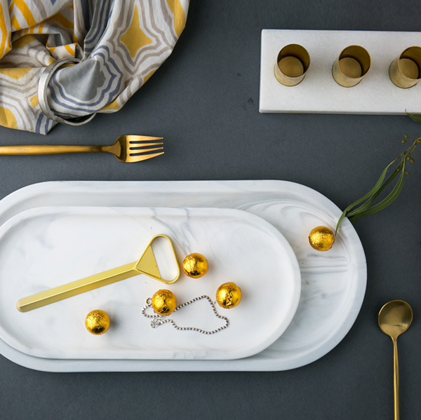 Regal Oval Bevelled Marble Tray