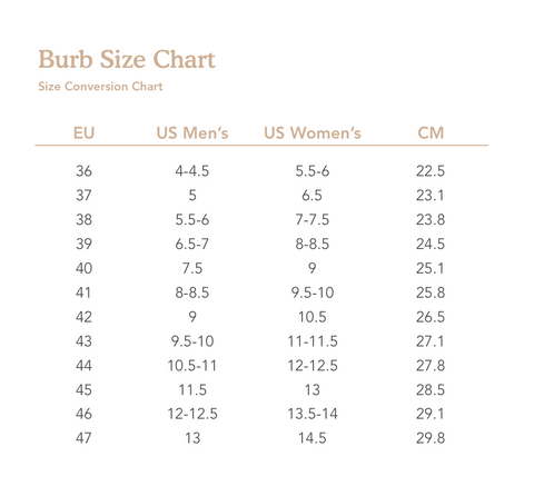A conversion chart showing foot size equivalents between European, US and Centimeter standards