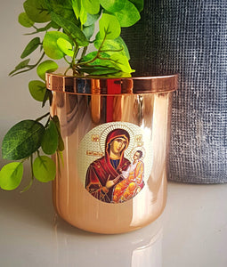 Religious Rose Gold Candle