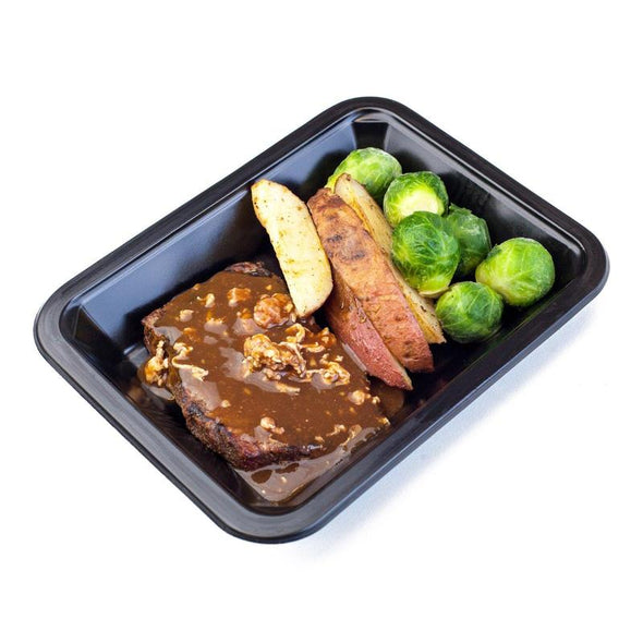 Beef Loin Steak, Bacon Demi, Red Potato Fries and Brussel Sprouts | Icon Meals