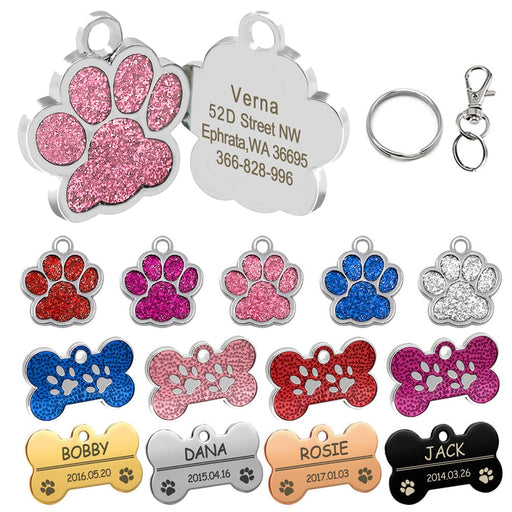 Paw Print Pet ID Tags