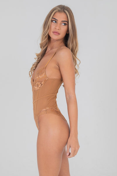 Embroidered Lace Underwired Bodysuit Mocha Tan