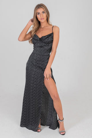 Polka Dot Cowl Maxi Dress