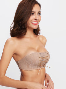 Lace Up Strapless Bra
