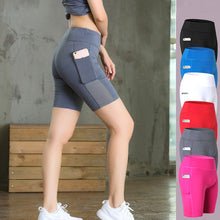 Load image into Gallery viewer, Women Yoga Shorts Mesh Patchwork Skinny Sport