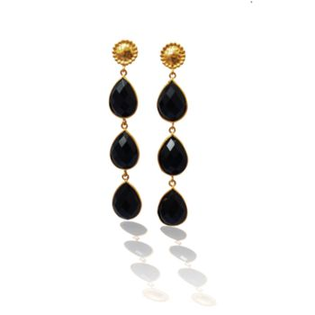 Smoky Topaz Earrings Three Teardrop Cascade Earrings