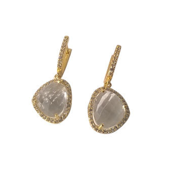 Diamante Gold Designer Drop Earrings Gift For Her