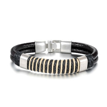 Mens Leather Bracelet Brown Two Tone